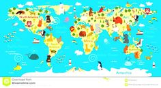 Only 10 of people can spot whats wrong with this world mapn animals world map kids stock photos images pictures vector illustration gumiabroncs Image collections