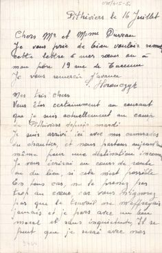 """We are leaving for an undisclosed destination."" Symcha Horonczyk sent this letter from Pithiviers camp to his father and sisters in Paris, via the Duvau Family. The letter was written on 16 July 1942, the day on which the Vel' d'Hiv, or mass-arrests of the Jews of Paris, began."