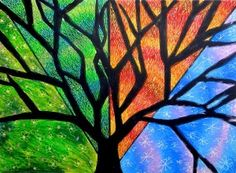 Tree, four seasons, oil pastels and marker.