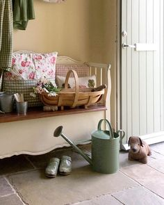 Cottage Door, Cottage Living, Cottage Style, Garden Cottage, Watering Can, The Outsiders, Shabby Chic, Room, Furniture