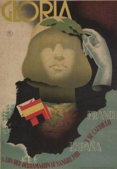 Anonymous, ca 1939, 'Gloria a los que derramaron su sangre por España y su caudillo Franco', Servicio Nacional de Propaganda.