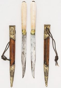 Ottoman kard knife, 18th to 19th century, steel, agate, silver, leather, silk, L. with sheath 12 in. (30.5 cm); L. without sheath 11 in. (27.9 cm); W. 13/16 in. (2.1 cm); Wt. 3.3 oz. (93.6 g); Wt. of sheath 1.7 oz. (48.2 g), Met Muserum, Bequest of George C. Stone, 1935.