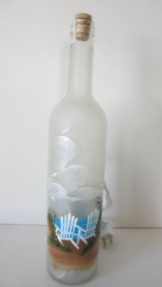 Beach Chair Frosted Lighted Bottle by EverythingPainted on Etsy