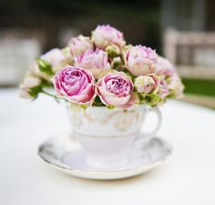 Peonies in teacups center piece! Two of my favs
