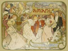 Poster of the comedy Amants, by Alphonse Mucha (V&A Custom Print)
