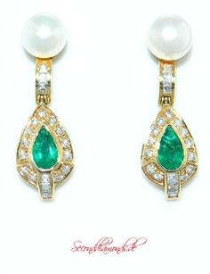 Smaragd Diamant Ohrstecker im Liz Taylor Stil / Gold 750 Earrings Diamonds