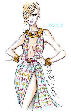 Williams Fashion Illustrations: Hayden Williams 2013 Love the eye necklace! Hayden Williams, Fashion Illustration Sketches, Illustration Mode, Fashion Design Sketches, Fashion Drawings, Sketch Fashion, Moda Fashion, Fashion Art, Fashion Beauty