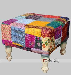 Rise Only Cloth Patchwork Upholstered Ottoman Product Code : Descriptions Dimensions: 46 X 46 X 38 CBM: Colour: Multicolor Material Used : Cloth Patchwork Fabric