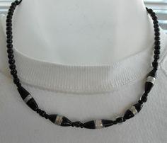 Black large bead necklace by mizmlu on Etsy, $12.00