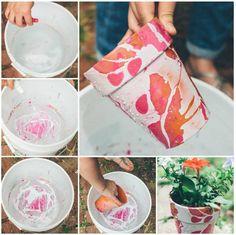 Nail Polish Pots: get a pot, bucket of water and nail polish. put nail polish into water and dip the pot in!