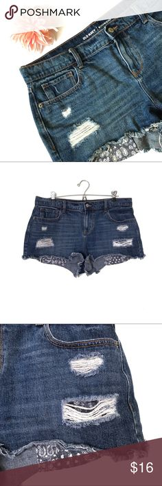 Old Navy distressed denim cutoff shorts, size 12 Distressed boyfriend cutoff jean shorts from Old Navy. Size 12 regular. Gently worn with intentional distressing. No flaws. Old Navy Shorts Jean Shorts