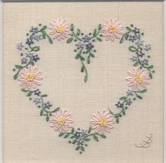 Jo Butcher, Embroidery Artist - Daisy Heart with Forget-Me-Nots