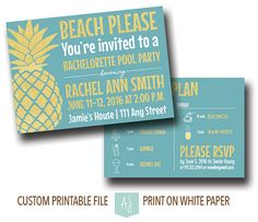 Beach Please! Plan a pool party for the bachelorette, birthday, anniversary, graduation or anything else.  The design shown is Bachelorette Party Invitation. Click through for more colors, designs, themes, and matching items.  Over 800+ designs to choose from. Only at Aesthetic Journeys