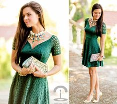 How To Wear Green Dress Beautiful 53 Ideas Glam Dresses, Pretty Dresses, Beautiful Dresses, Short Sleeve Dresses, Dresses For Work, Suits For Women, Green Dress, Ready To Wear, Style Inspiration