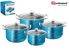 """4pc CASSEROLE SET """"AQUAMARINE"""" - SQ Professional brings you its brand new flagship 'Gems' range of cookware. This sets sparkles with the brilliance of the gemstones after which it is named. Made from high quality stainless steel, they come complete with vented, tempered glass lids. You can be certain that a set from the Gems range will be the talking point in any kitchen. Dimensions: 3.7L - ø20cm x 12cm 