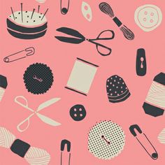 print & pattern, pink, design, sewing, craft, button, colour, illustration