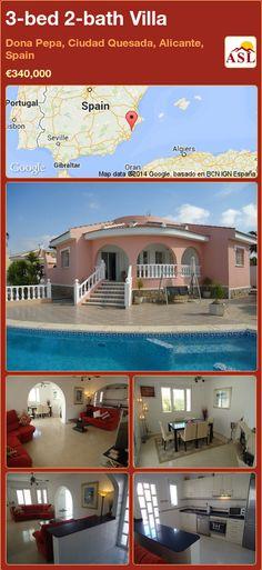3-bed 2-bath Villa in Dona Pepa, Ciudad Quesada, Alicante, Spain ►€340,000 #PropertyForSaleInSpain