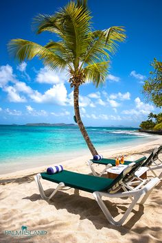 Sit back, relax and the let the sun melt your stress away on Palm Island Resort, Grenadines. | #allinclusive #vacation #resort #caribbean #beach
