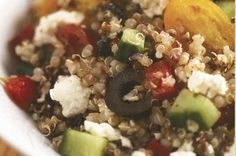Mediterranean Quinoa Salad  2 cups quinoa, cooked  1 cup grape tomatoes, halved  1/2 cup cucumber, diced  1/2 cup Kalamata olives, pitted and chopped  1/2 red bell pepper, diced  1/4 cup feta cheese, crumbled  3 tablespoons extra virgin olive oil  1/2 teaspoon sea salt  Fresh pepper, to taste  1 teaspoon oregano  Juice of 1/4 lemon