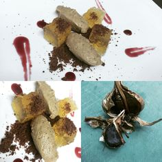 Jelly beer, black garlic cream and cacao dust. Chef Michele Giovannini