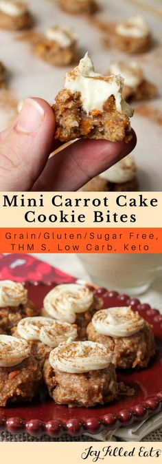 Mini Carrot Cake Cookie Bites with Cream Cheese Filling - Low Carb, Grain Gluten Sugar Free, THM S - If you are like me and love teeny tiny one bite desserts these will be right up your alley. My Mini Carrot Cake Cookie Bites with Cream Cheese Filling are bursting with flavor in each little cookie.