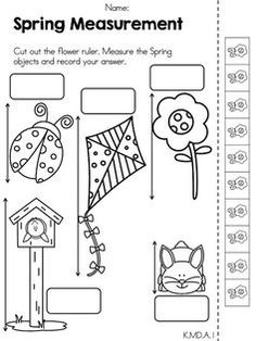 Inchworm Measurement and more Kindergarten review sheets
