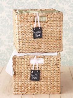 Wicker baskets conceal items out of sight. Create labels to attach to baskets so you don't completely forget their contents. Try chalkboard tags, which are easy to re-label. Paint wood tags with chalkboard paint and attach to baskets with ribbon. Bedroom Closet Storage, Linen Closet Organization, Storage Organization, Organisation Ideas, Kitchen Organization, Bedding Storage, Kitchen Storage, Tupperware Organizing, Organizing Labels