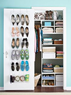 When closet space is at a premium, it's important to make every inch count. Keep your small closet organized with these storage-rich tips to make it live large. How To Organize Your Closet, Build A Closet, Closet Redo, Small Closet Organization, Organization Hacks, Organizing Tips, Organising, Wardrobe Organisation, Bedroom Organization