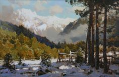 The old pines - Painting,  65x110 cm ©2012 by Aleksander Babich -                                                                                                Realism, Canvas, Botanic, Seasons, Landscape, Nature, mountain landscape, buy mountain landscape, buy paintings, Alexander Babich