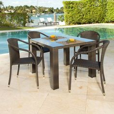 Source Outdoor Circa St. Tropez All-Weather Wicker Patio Dining Set - Seats 4 - CI-07947