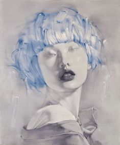 Blue - azul - face - rosto - painting - Aura - Liu Hong (刘虹)'s ART