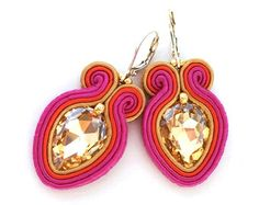 Statement soutache earrings RAINBOW bridesmaid gift by SaboDesign