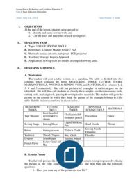 Lesson Plan in TLE 7 Science Lesson Plans, Science Lessons, Word Doc, Scissors, How To Plan, How To Make, Sewing, Words, Dressmaking