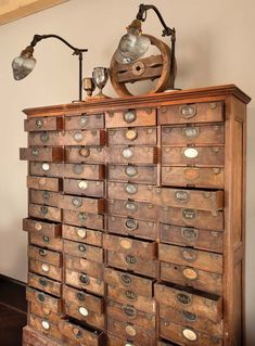 Awesome Vintage Library Card Catalog Chest of Drawers. Repurposed Furniture, Antique Furniture, Steampunk Furniture, Antique Interior, Wooden Furniture, Industrial Furniture, Furniture Ideas, Industrial Closet, Nice Furniture
