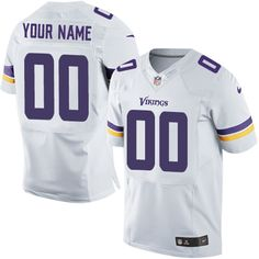 Nike Elite White Men's Jersey - Customized Minnesota Vikings NFL Road