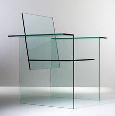 Shiro Kuramata Glass chair Mihoya Glass Co. Glass Furniture, Cool Furniture, Furniture Design, Minimal Design, Modern Design, Glass Chair, Muebles Art Deco, Laminated Glass, Futuristic Furniture