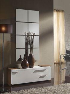 Meuble d'entrée moderne avec meuble à chaussures SEPHORA, coloris blanc et noyer