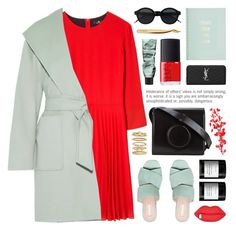 """pleated red dress"" by jesuisunlapin ❤ liked on Polyvore featuring PS Paul Smith, MaxMara, Lemaire, kikki.K, Aesop, Lulu Guinness, NARS Cosmetics, Yves Saint Laurent, Byredo and Forever 21"
