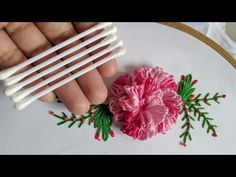 Amazing Hand Embroidery flower design trick With cotton bud Hand Embroidery Flower Designs, Hand Embroidery Videos, Embroidery Flowers Pattern, Creative Embroidery, Ribbon Embroidery, Brazilian Embroidery Stitches, Embroidery Stitches Tutorial, Tricks, Couture