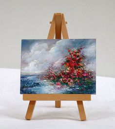 Sky and Water, 3x4, original, oil painting, miniature, with flowers by valdasfineart on Etsy Available