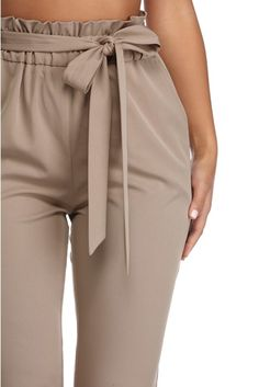 Get waist deep in these cute taupe pants! They have an elastic, paperbag waist that includes a tie front belt and basic slant pockets. The tapered pants also include a back faux pocket. Casual Outfits, Summer Outfits, Cute Outfits, Business Chic, Looks Black, Slim Pants, Western Outfits, Cloth Bags, Dress Codes