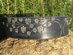 Soft Black Breezy Floral Tree leather bracelet cuff