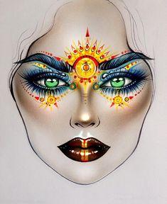 Resultado de imagem para egyptian makeup drawing Resultado de im. Body Makeup, Eye Makeup, Egyptian Makeup, Arabic Makeup, Indian Makeup, Mac Face Charts, Mac Makeup Looks, Goddess Makeup, Make Up Designs