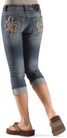 Miss Me Jeans #Miss_Me_Jeans #fashion #blue_jeans #love Miss Me Jeans Miss Me Jeans - Leather Fleur-de-Lis Applique Capri