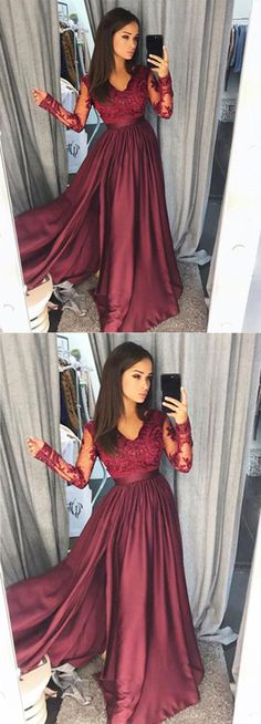 Cute burgundy lace chiffon prom dress