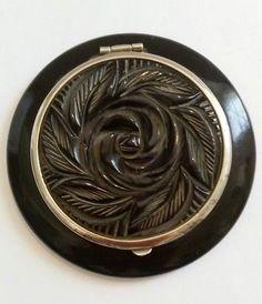 Vintage ART DECO Carved BLACK BAKELITE Floral FLOWER Powder Compact