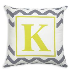 Lolly Wolly Doodle — Gray Chevron Throw Pillow Cover with Gold Square Frame & Initial