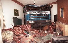 The living room of a house in Newport. The owners were watching television when the lorry crashed through the bay window.