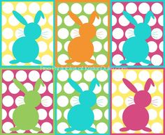 FREE Polka Dot Easter Bunny Free Printable : With and without the border