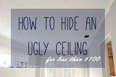 Hiding ugly ceiling tiles with textured wallpaper Wallpaper Ceiling, Paintable Wallpaper, Bathroom Wallpaper, Ceiling Tiles, Textured Wallpaper, Peeling Wallpaper, Home Repairs, Home Reno, Diy Home Improvement